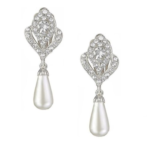 Clip On Cubic Zirconia Braided Wedding Earrings with Pearl Drop